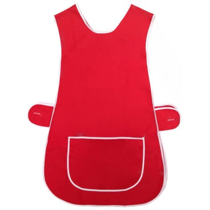 LADIES TABARD TABBARD APRON WITH POCKET PLUS SIZE BIG KITCHEN CLEANING CHEF-Plain-Tabbard Red