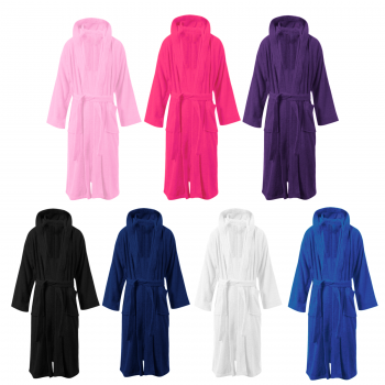 EGYPTIAN COTTON TERRY TOWEL HOODED BATH ROBE