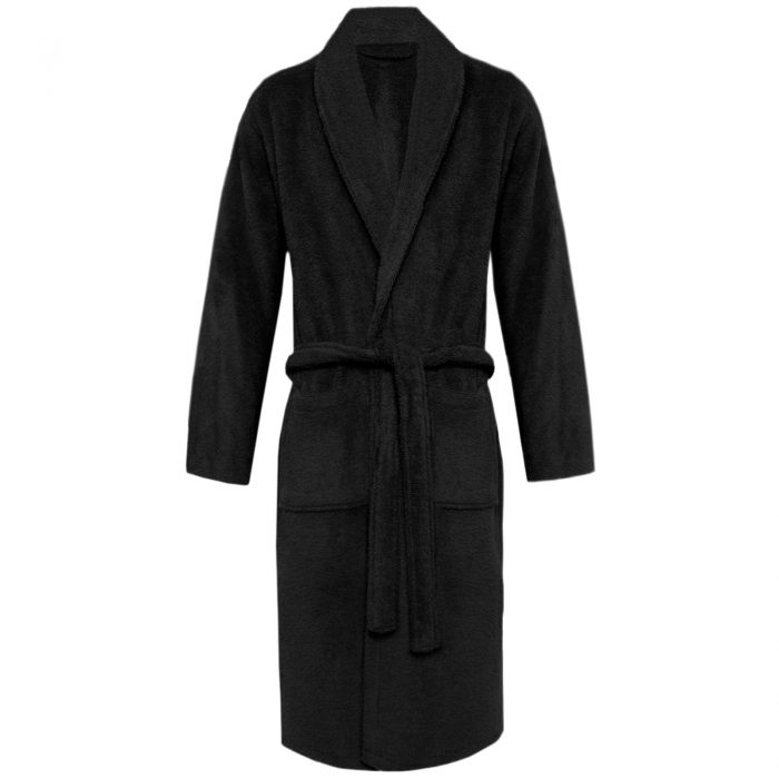 Terry Bath Robe Shawl Black