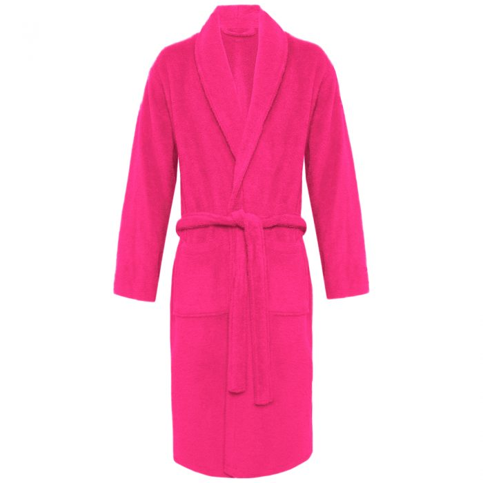 Terry Bath Robe Shawl Fuchsia