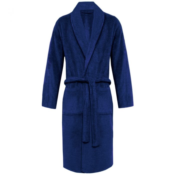 Terry Bath Robe Shawl Navy
