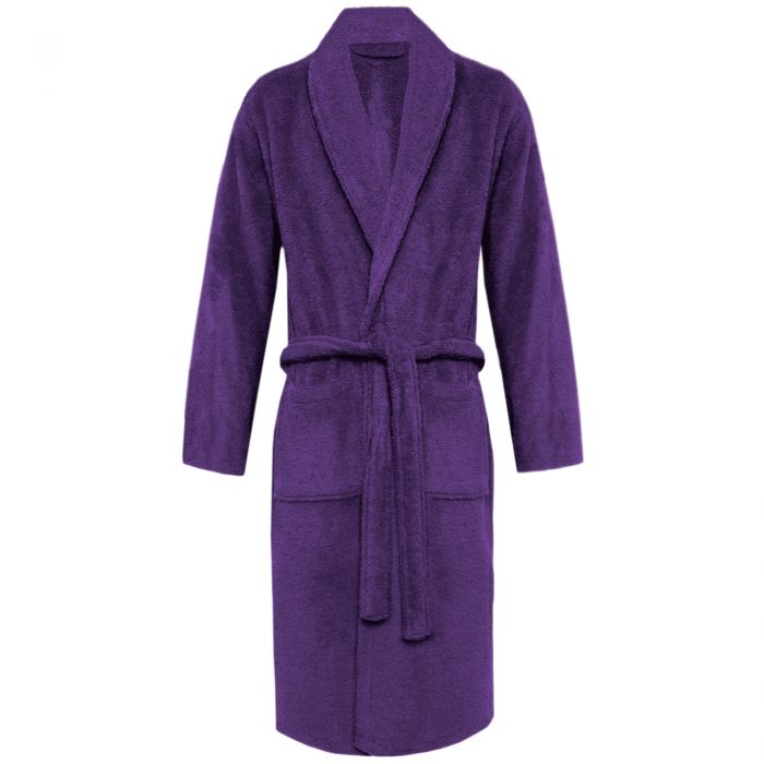 Terry Bath Robe Shawl Purple