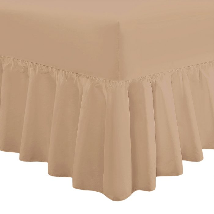 PLAIN DYED FITTED VALANCE BOX BED SHEETS-Valance Sheet Beige