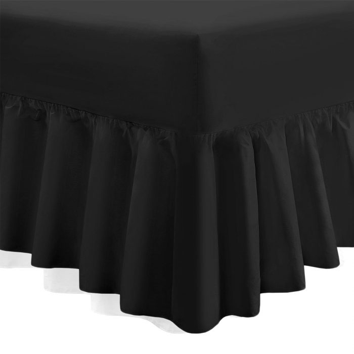 PLAIN DYED FITTED VALANCE BOX BED SHEETS-Valance Sheet Black