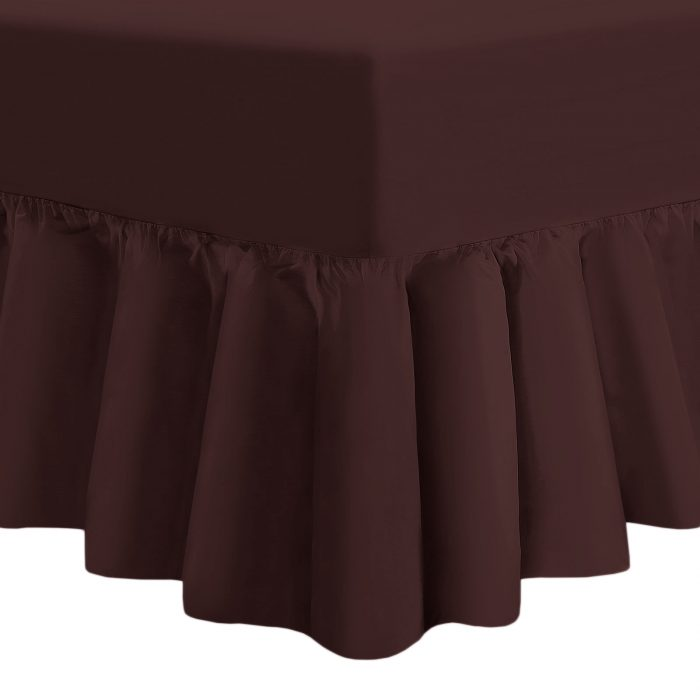 PLAIN DYED FITTED VALANCE BOX BED SHEETS-Valance Sheet Brown