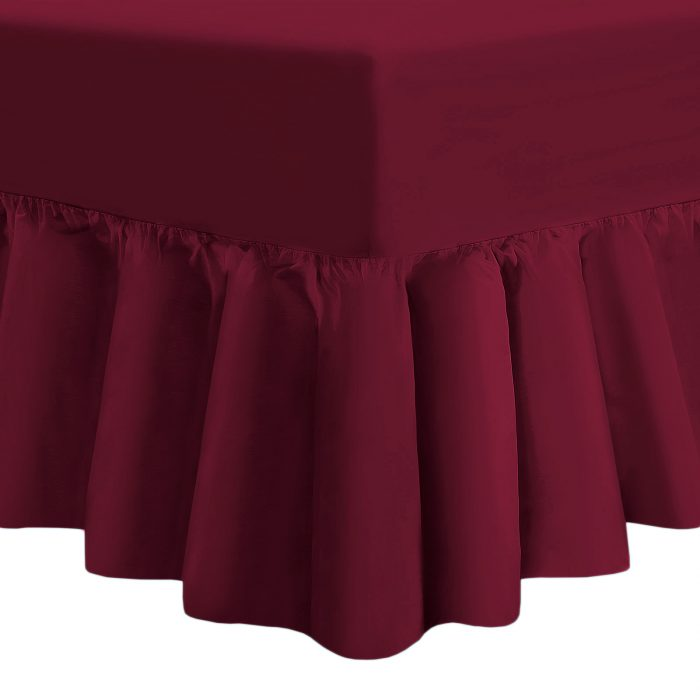 PLAIN DYED FITTED VALANCE BOX BED SHEETS-Valance Sheet Burgundy