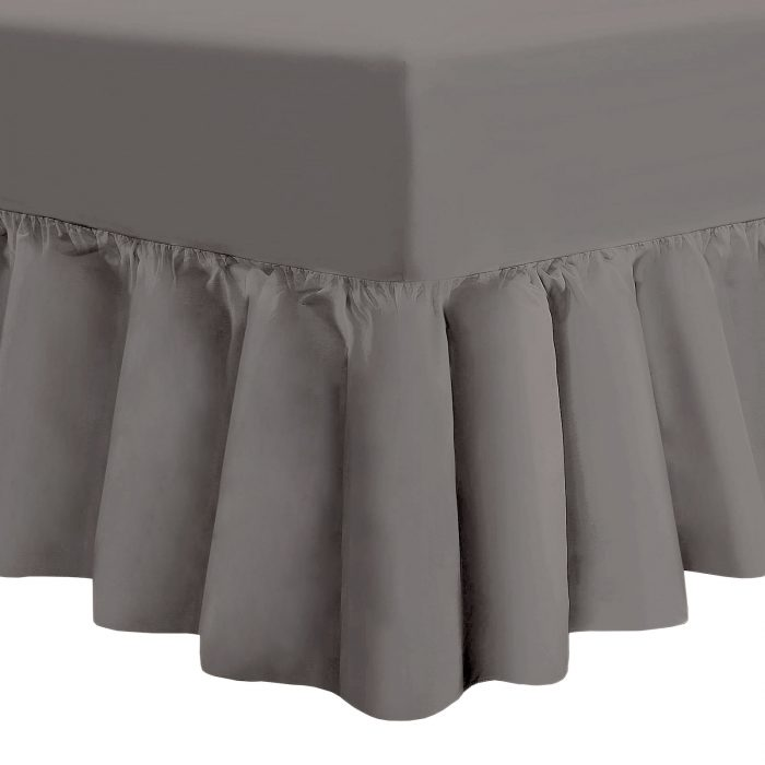 PLAIN DYED FITTED VALANCE BOX BED SHEET-Valance Sheet Grey