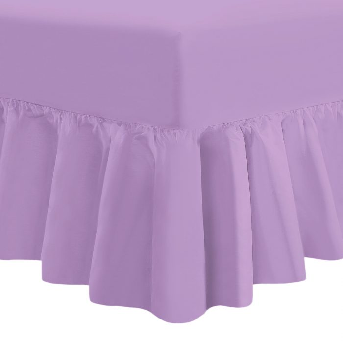 PLAIN DYED FITTED VALANCE BOX BED SHEET-Valance Sheet Lilac