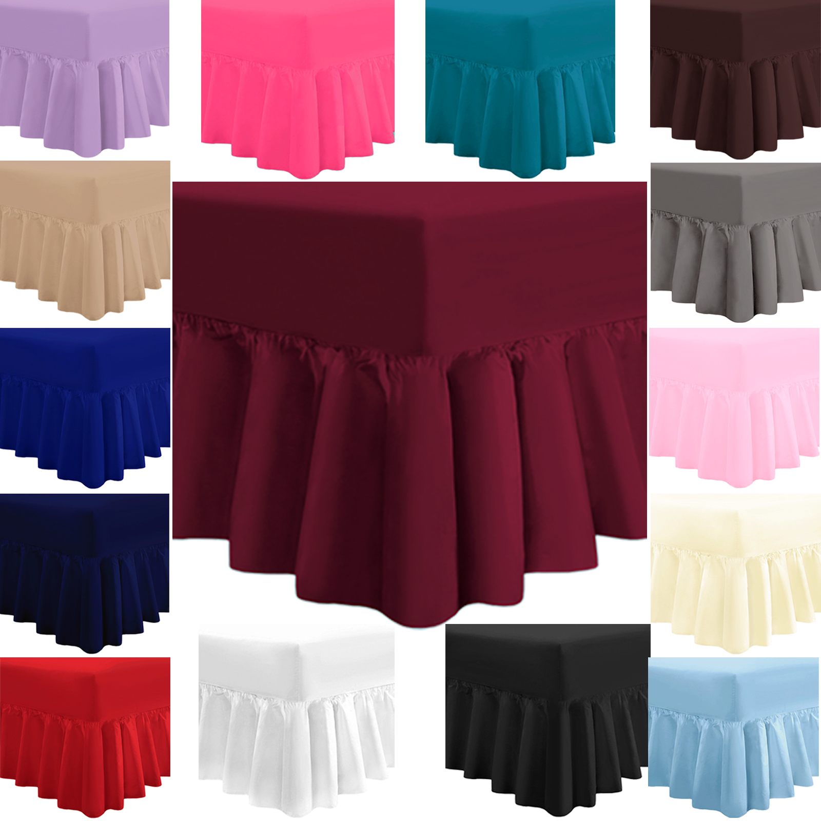 Pillowcase Sold Separately Fitted Valance Sheet Plain Dyed Polycotton Easy Care