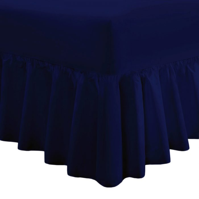 PLAIN DYED FITTED VALANCE BOX BED SHEET-Valance Sheet Navy