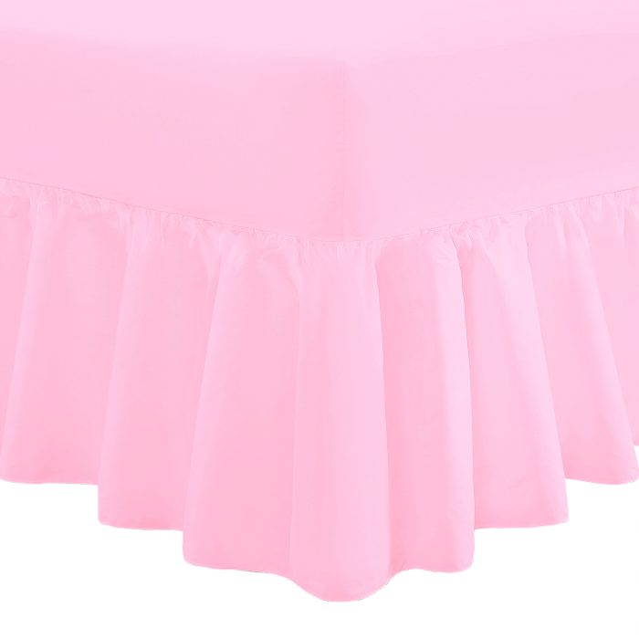 PLAIN DYED FITTED VALANCE BOX BED SHEET-Valance Sheet Pink