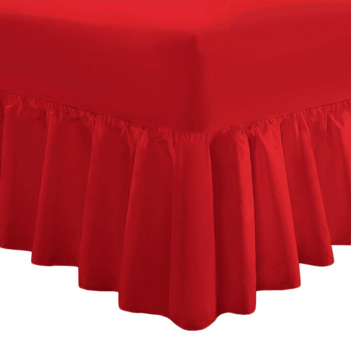 PLAIN DYED FITTED VALANCE BOX BED SHEET-Valance Sheet Red