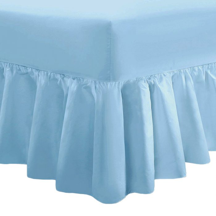 PLAIN DYED FITTED VALANCE BOX BED SHEET--Valance Sheet Sky