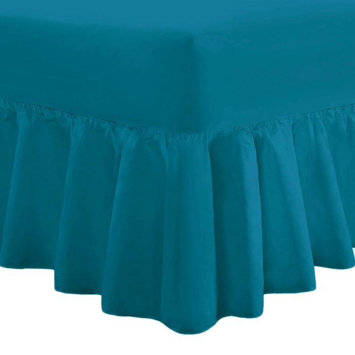 PLAIN DYED FITTED VALANCE BOX BED SHEET--Valance Sheet Teal
