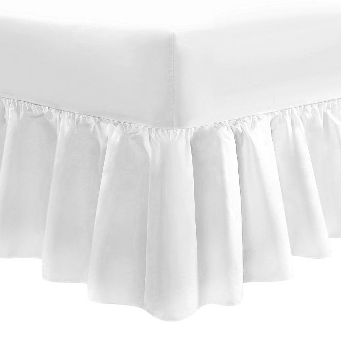 PLAIN DYED FITTED VALANCE BOX BED SHEET-Valance Sheet White