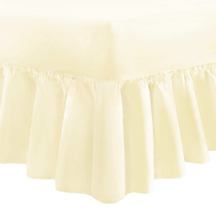 PLAIN DYED FITTED VALANCE BOX BED SHEET-Valance Sheet cream