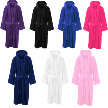LUXURY EGYPTIAN COTTON HOODED VELOUR TOWELLING BATH ROBE
