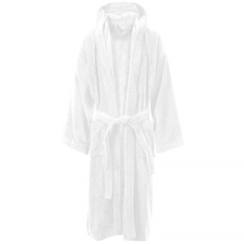 Velour Hooded Bathrobe 2016 White