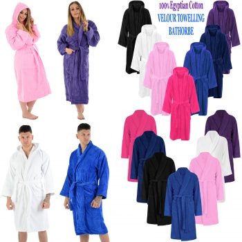 LUXURY EGYPTIAN COTTON SHAWL NECK VELOUR TOWELLING BATH ROBE