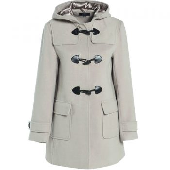 WOMENS DUFFLE WOOL TRENCH COAT BEIGE