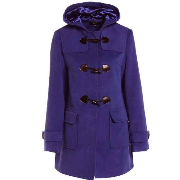 WOMENS DUFFLE WOOL TRENCH COAT-royal blue