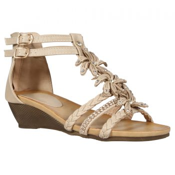 WOMENS SANDALS LADIES STRAPY GLADIATOR Beige