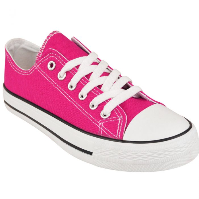 LADIES WOMENS GIRLS CANVAS LACE UP PLIMSOLLS PUMPS SNEAKER TRAINER SKATER SHOES-Fuchsia