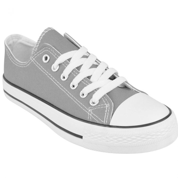 LADIES WOMENS GIRLS CANVAS LACE UP PLIMSOLLS PUMPS SNEAKER TRAINER SKATER SHOES-Grey