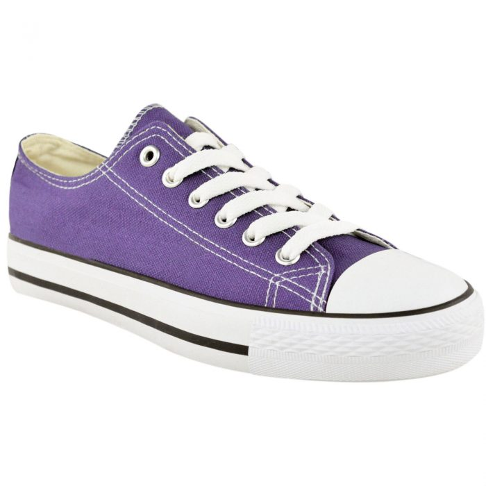 LADIES WOMENS GIRLS CANVAS LACE UP PLIMSOLLS PUMPS SNEAKER TRAINER SKATER SHOES-Purple