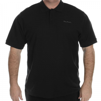 Pierre Cardin Mens Polo Shirt Plain Short Sleeve Black