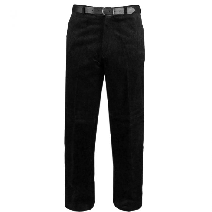 NEW MENS CORD CORDUROY TROUSERS COTTON FORMAL CASUAL BIG PLUS BELT POCKET PANTS-corduory pants black