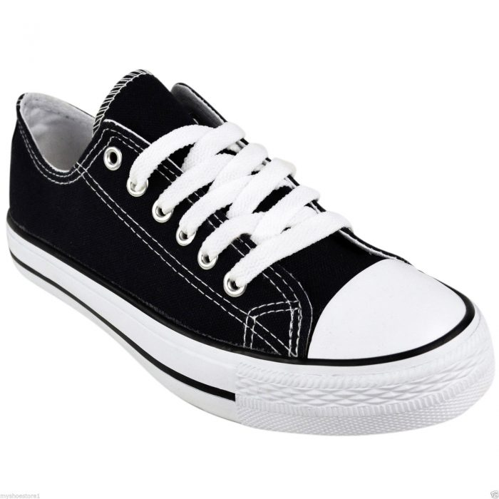LADIES WOMENS GIRLS CANVAS LACE UP PLIMSOLLS PUMPS SNEAKER TRAINER SKATER SHOES-black