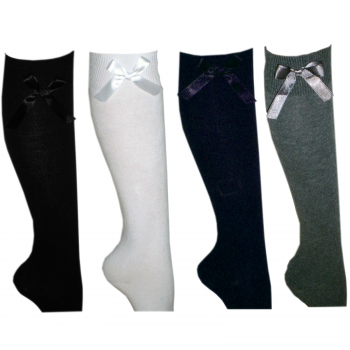 12 PAIRS GIRLS BOW KNEE HIGH SOCKS