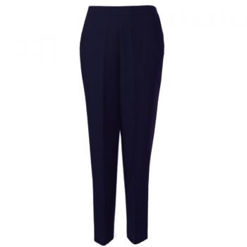 WOMENS TROUSERS WOOL TOUCH HALF ELASTICATED Navy