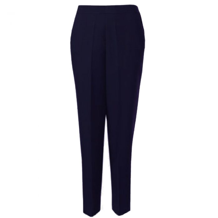 WOMENS TROUSERS WOOL TOUCH HALF ELASTICATED-navy