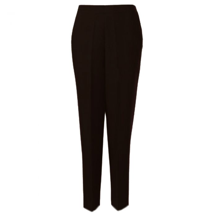 WOMENS TROUSERS WOOL TOUCH HALF ELASTICATED-brown