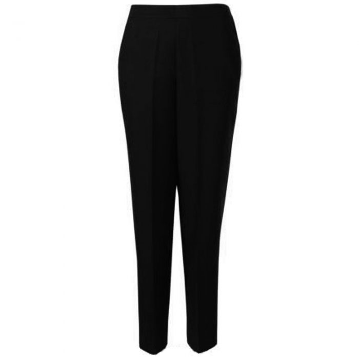 WOMENS TROUSERS WOOL TOUCH HALF ELASTICATED-black