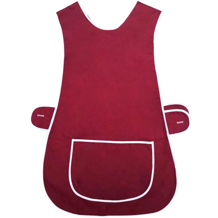 LADIES TABARD TABBARD APRON WITH POCKET PLUS SIZE BIG KITCHEN CLEANING CHEF-Plain-Tabbard-wine