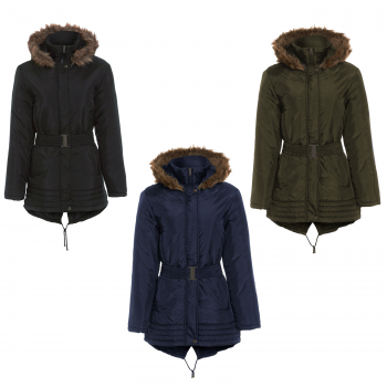 GIRLS HOODED PADDED OLIVIA FISHTAIL JACKET