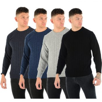 MENS CHUNKY CABLE KNIT JUMPER