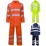HI VIS WATERPROOF PVC RAIN WEAR HOODED RAIN SUIT