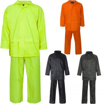 UNISEX WATERPROOF PVC RAIN WEAR HOODED RAIN SUIT